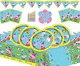Gemma Nuevo Peppa Pig Party Supplies Juego de cumpleaños para niños para 16 Invitados Vajilla...