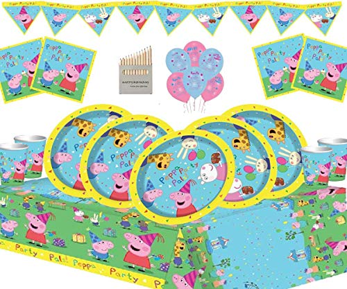Unbekannt Neues Peppa Pig Partyzubehör Kindergeburtstags-Set für 16 Gäste Peppa Deluxe Partygeschirr mit Peppa-Luftballons und Bannern