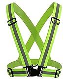2Stück Reflektierende Einstellbar Warnweste Sicherheitsweste Unfallweste Hohe Sichtbarkeit Gürtel für Laufen, Joggen, Radfahren, Wandern, Motorrad fahren (Grün)