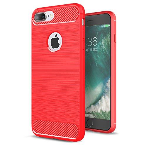 Preisvergleich Produktbild iPhone 7 Plus Handy Tasche, FoneExpert® Carbonfaser Textur Hülle Abdeckung Silikon schutzhülle ShockProof Texture Carbon Fiber Case Cover Für iPhone 7 Plus