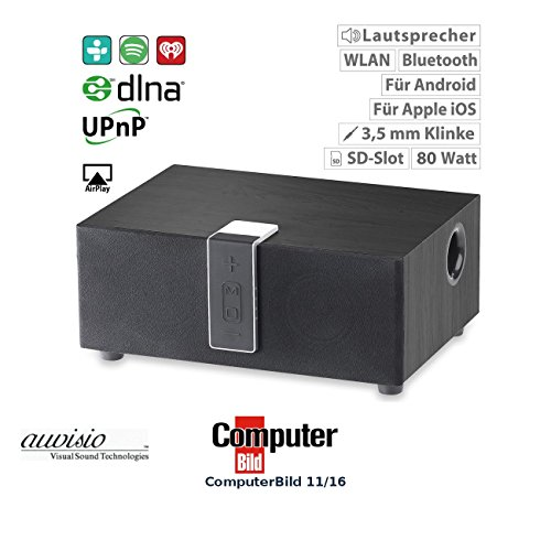 auvisio Bluethooth Lautsprecher: WLAN-Multiroom-Lautsprecher mit Subwoofer, BT, Airplay, 80 W, schwarz (Audio Funkübertragung Lautsprecher mit Airplay)