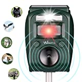 Wikomo Cat Repellent Animal Repeller Solar Animal Repellent Scarer Ultrasonic Solar Powered Cat Repeller Outdoor Waterproof Application in Yard, Lawn, Garden, Park and Farm