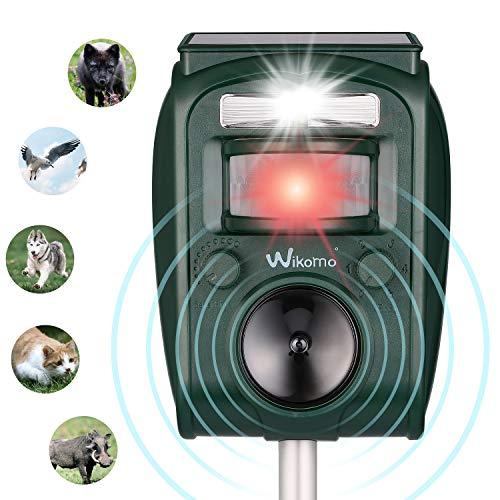 Wikomo Solar Katzenschreck Tiervertreiber Wasserdichte Ultraschall Abwehr Solar Tierabwehr,5 Modus einstellbar,wasserdicht Katzen Hunde Hirsch Mäuse abwehrmittel -
