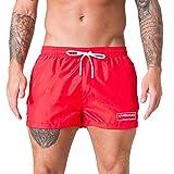 Xmiral Badehose Herren Verstellbarem Kordelzug Elastisch Taille Boxer Strandhosen Kurze Hosen Schnelltrocknend Surf Shorts Badeshorts(Rot,XXL)