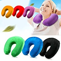 Pillow Travel Pillow U Shaped Inflatable Neck Pillow Supports the Head Neck back waist legs and Chin in Maximum Comfort in Any Sitting Position Compact & Lightweight for Sleeping on Airplane Car and Train Carrying Bag-Soft & Ergonomic One Size Design (Bla