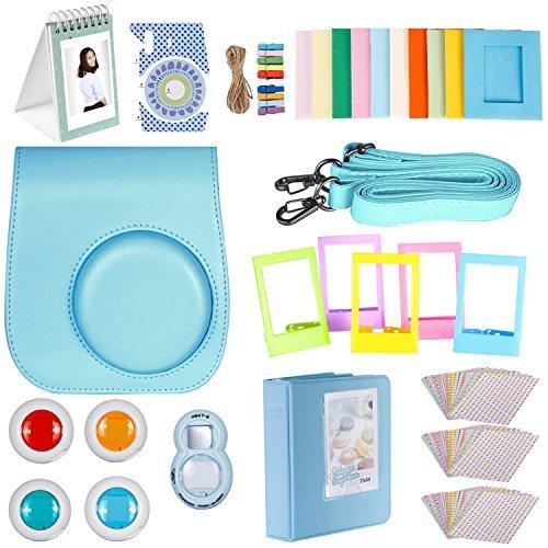Neewer 27-en-1 Caméra Kit d'Accessoires Bleu pour Fujifilm Instax Mini 8/8s, Comprend (1) Housse + (1) Selfie Objectif + (4) Filtres Colorés +(10) Cad...