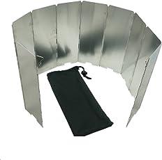 EXQUILEG Aluminium Windschutz, Faltbarer Windschutzscheibe : zur Verwendung Backpacking Öfen, Campingkochern, Butan-Gaskochern, Spirituskochern