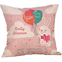LEEDY Cushion Cover , Easter Cotton Creative Square Rabbit Throw Pillow Case Waist Cushion Cover Home