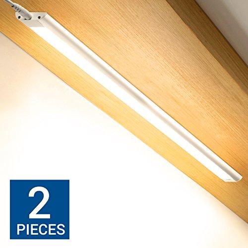 Küche Regal Licht (Hyperikon DOPPELPACK - dimmbare LED Lichtleiste mit Handsensor + Zubehör / 60cm / 9W Unterbauleuchte / warmweiss 2700K / 680 Lumen / erweiterbar / anklebbar / Einbauleuchte / Schranklicht)