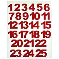 Chiffres autocollants rouges de 1 à 24 pour calendrier de l'Avent - 15mm