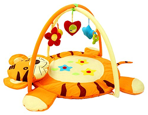 Krabbeldecke mit Spielbogen Tiger von Dominiti, für Kinder mit Greiflingen