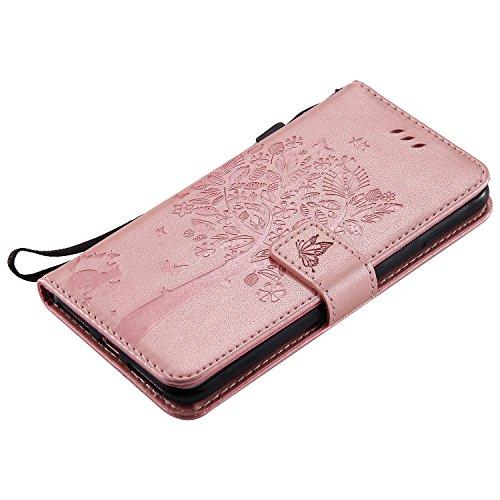iPhone 5s / iPhone se / iPhone 5 Hülle,MOONESS Stand Hülle Schutzhülle PU Leder Flip Tasche Case mit Karte Halter und Magnetisch Flip Bumper Ledertasche(Grün) Pink1