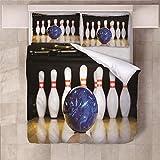 Jior Home Art Bettwäsche Set Bettbezug Und 2 Kopfkissenbezug Atmungsaktiv,Anti Milben,Geeignet Für Allergische Haut,Ideal Für Kinder Jugendliche Schlafzimmer Bowling,155x220cm