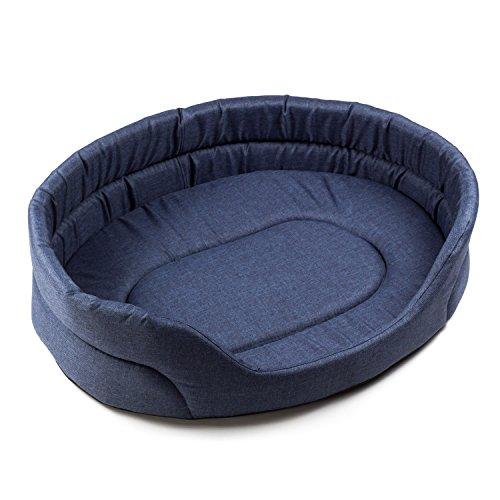 Boutique zoo–elegante letto per cani/blu scuro, lino look/letto per cani di piccole/medie/grandi cani | cani divano, cuscino per cani xs, s, m, l, xl, xxl, xxxl