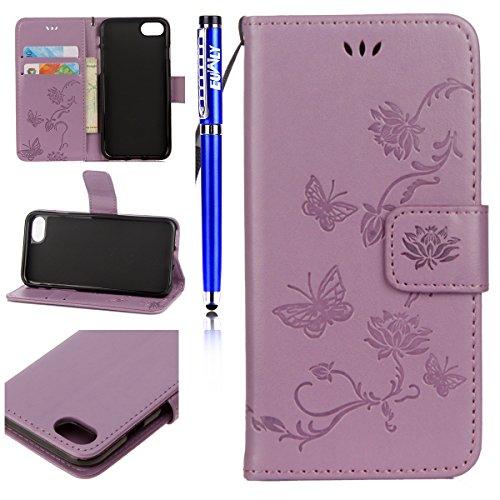 Cover per iPhone 6 Plus/iPhone 6s Plus (5.5), EUWLY Portafoglio Custodia in Pelle Protettiva Cover Case Per iPhone 6 Plus/iPhone 6s Plus (5.5) Premium Retro Morbido PU Leather Wallet Cover Supporto Viola