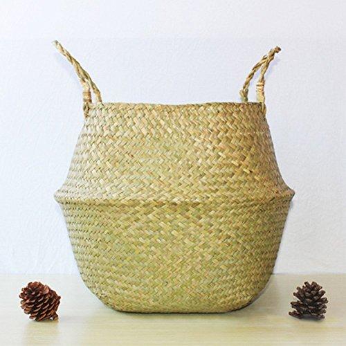 XGZ - Cesta plegable hecha de junco marino y tejida a mano, ideal para lavandería y almacenar juguetes, ropa, fruta o plantas, Small