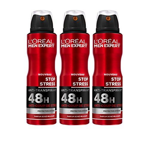 L'Oréal Men Expert Stop Stress Anti-Transpirant 48H Atomiseur 200 ml - Lot de 3