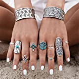 - 51UgFrfjh1L - Smilucky 1 Set /9 Pcs Women Punk Vintage Retro Boho Geometry Adjustable Finger Rings