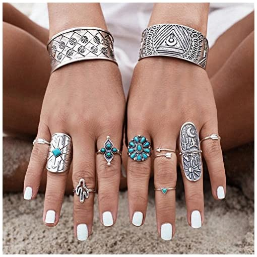 Smilucky 1 Set /9 Pcs Women Punk Vintage Retro Boho Geometry Adjustable (Not All ) Finger Rings