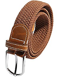 SODIAL(R) Unisex Men Women Stretch Braided Elastic Leather Buckle Belt Waistband brown