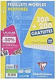 Clairefontaine - 11791c - Feuillets mobiles seyes - Grand carreaux - Paquet de 300 + 200 gratuit + 1 calendrier A4 gratuit