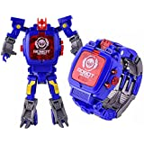 Kiditos Transforming Robot Toy Convert to Digital Watch for Kids, (Blue)