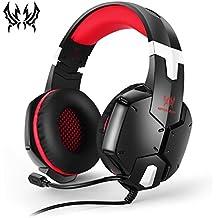 KOTION Chat Gaming Headset für PS4, Xbox One und Nintendo Switch, PC/Mac/Handy/Playstation 4 Over-Ear Kopfhörer mit Mirkrofon, Lärmminderung, Schwarz & Rot