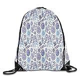 Jebnpse Printed Drawstring Backpacks Bags,Ornamental Mandala Floral Arrangement Paisleys East Asian Culture Motifs,Adjustable String Closure
