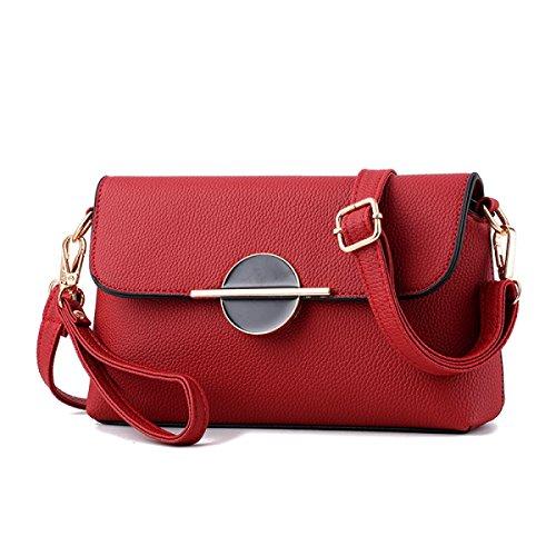 Damen Mini Messenger Tasche Umhängetasche WineRed