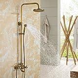 Auralum Bronze Duschset Duscharmatur Retro Duschbad Duschbrause Duschgarnitur Antik Duschset Regendusche Shower Set mit Höhenverstellbar 120cm