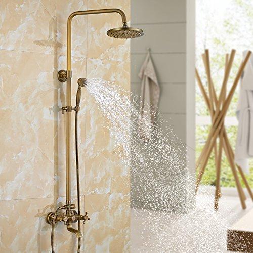 Auralum Bronce Ducha Set de Ducha Grifo Retro Ducha Baño Ducha Antiguo Ducha - Set Ducha de Lluvia Shower con Altura Regulable 120cm