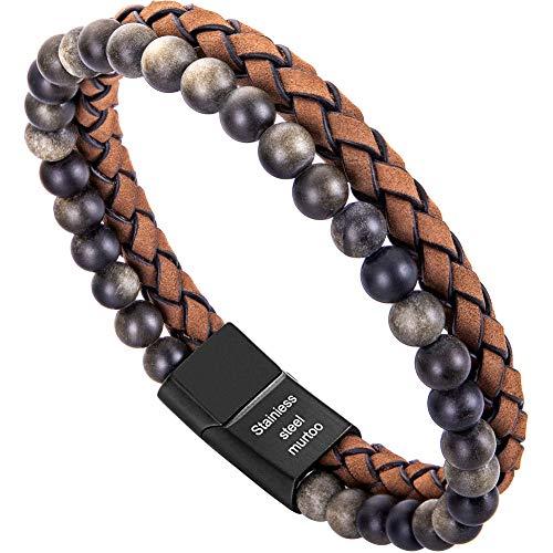 murtoo Armband Herren Leder Armband Naturstein Geflochtenes Armband aus schwarzer Onyx Wunderbar Geschenk Fuer Herren (21.5, Obsidian,braun)