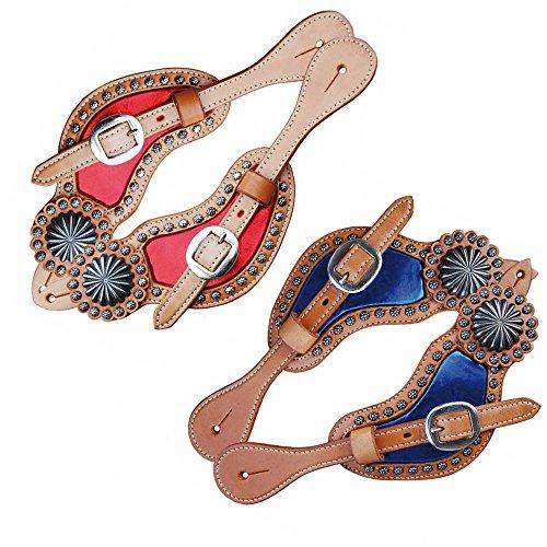 POOL\'S Schnürsenkel für Sporen nach Ohr mit farbigen Einsätzen und Edelstahleinsätzen Rosso -