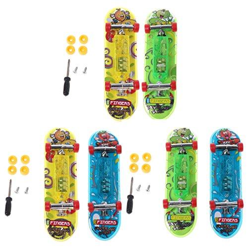 Qiman 2 stücke LED Mini Skateboard Griffbrett Tech Deck Kinder Spielzeug Geschenke Baby Spielzeug (Decks Skateboards Tech)