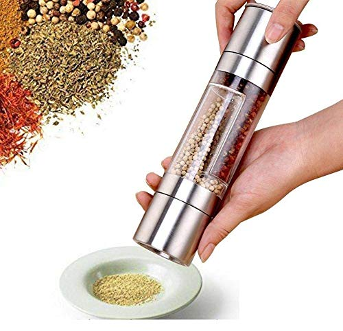 Orpio (Lable) Stainless Steel 2 in 1 Dual Salt and Pepper Grinder with Adjustable Ceramic Mechanism (Silver)