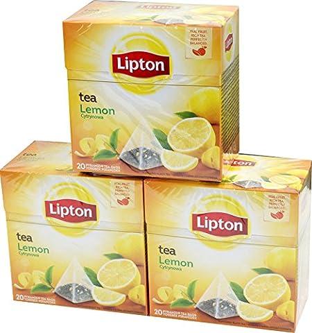 Lipton Lemon Tea Aromatisierter Schwarztee 3 x 20 Pyramiden