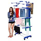 Magna Homewares Heavy Duty Steel 4 Layers 4 Poles Super Grandis Cloth Drying Stand with Wheels and Cloth Hangers-Blue