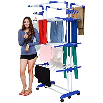 Magna Homewares Heavy Duty Steel 4 Layers 4 Poles Super Grandis Cloth Drying Stand with Wheels and Cloth Hanger Holders-Blue
