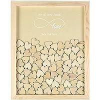 YS2016 -Marco de madera personalizable a modo de libro de firmas de invitados de boda con 130 pequeños corazones de madera, estilo rústico