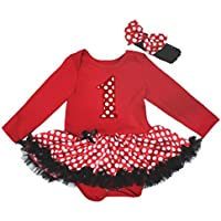 Petitebelle compleanno 1st Rosso L/S Body bianco pois Baby tutù (Costumi Birthday Party Dress)