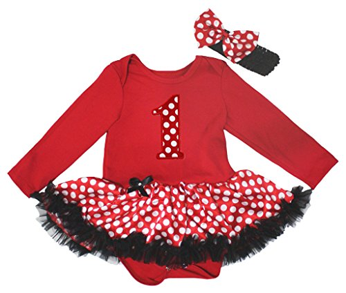 Petitebelle compleanno 1st Rosso L/S Body bianco pois Baby tutù nb-18 m Red 12-18 (Costumi Birthday Party Dress)