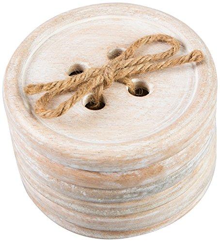 Sass & Belle - Sottobicchiere in Legno a Forma di Bottone, Confezione da 6 Pezzi, Colore Marrone