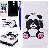 EUWLY Sony Xperia XA2 Leather Wallet Case,Sony Xperia XA2 Protective Case [Cash and Card Slots],Beautiful 3D Colorful Pattern Elegant Retro Pattern Pu Leather Case Book Wallet Flip Cover [Kickstand] [Magnetic Closure] for Sony Xperia XA2 + 1 x Blue Stylus Pen,Panda