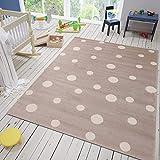 VIMODA Punkte Teppich Flauschige Qualität Beige Weiß Kunstfaser Schadstoffgeprüft 120x170 cm