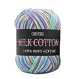 Prevently Strickgarn Gradienten Milch Baumwollgarn Chunky Bunte Hand Stricken häkeln Milch Weichen Baby Baumwolle Wolle Garn (Colour A)