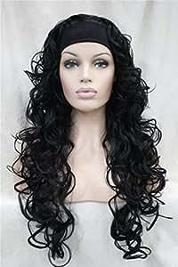 Black : Kalyss Women's Long Curly Wavy 3/4 Half Heat Resistant Synthetic Black Hair Wig With Black Headband