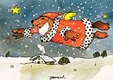 Janosch Adventskalenderkarte Fliegender Weihnachtsbär