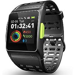 Montre Intelligente Fitness Tracker, Montre de Sport GPS avec ECG / Surveillance Fatigue /Sommeil /Rythme Cardiaque, Tactile Couleur Écran en Mode Multisports IP68 Montre Intelligente pour Android iOS