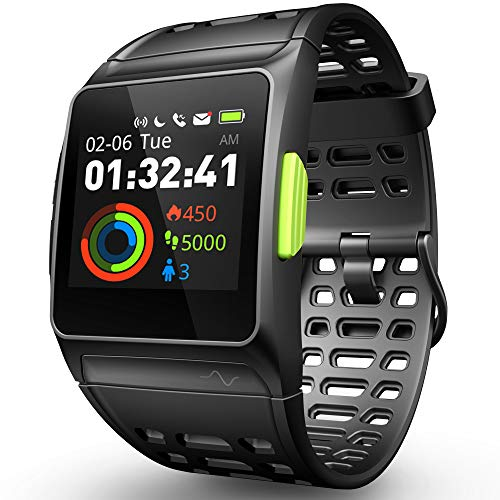 Smart Watch Fitness Tracker,GPS Sport Watch ECG/Fatigue/Sleeping/Heart Rate Monitor IP68 Waterproof Smartwatch,Multi-Sports Mode Message Notifications Color Touch Screen Running Watch for Android IOS