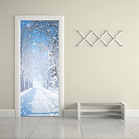 Yanqiao Winter Snow Door Decal Stickers Removable Art Home Decorations DIY Wallpaper Easy to Apply 77*200CM/30.3*78.7